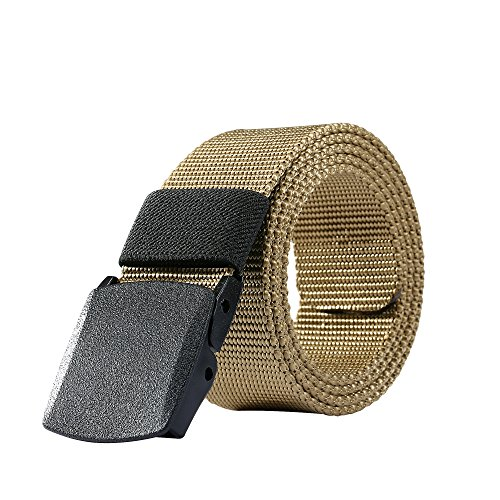 Nylon Belt Outdoor Men's Military Tactical Belt Casual Belt Plastic Automatic Buckle Webbing Belts (Mud Color) (Canvas Classic Belt)