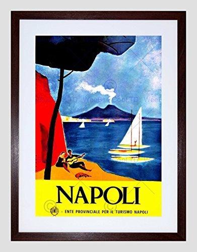 The Art Stop Travel Naples Italy VESUVIUS Volcano Bay Yacht Tree Guitar Beach Print B12X7974
