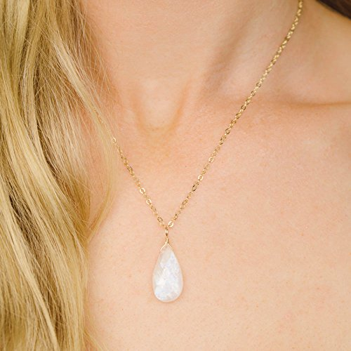 Small blue flash rainbow moonstone necklace in 14k gold fill - 18