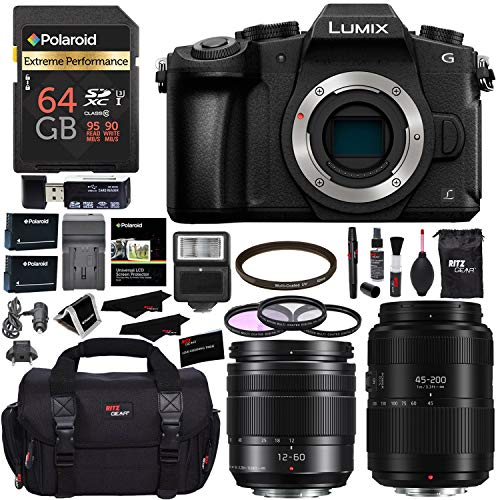 PANASONIC LUMIX DMC-G85MK G85 4K Mirrorless Camera, 12-60mm Power O.I.S. Lens, G II Vario 45-200mm Lens, Polaroid 64GB, Ritz Gear SLR Camera Bag, Filter Kit, Battery, Charger and Accessory Bundle