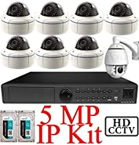 USG 5MP IP PTZ CCTV Kit: 1x 8 Ch @ 5MP NVR + 1x 1080P IP PTZ 4.7-47mm Speed Dome Camera + 7x 5MP IP PoE 2.8-12mm Dome Cameras + 2x 3TB HDD *** Ultra High Definition Video Surveillance For Your Home or Business!