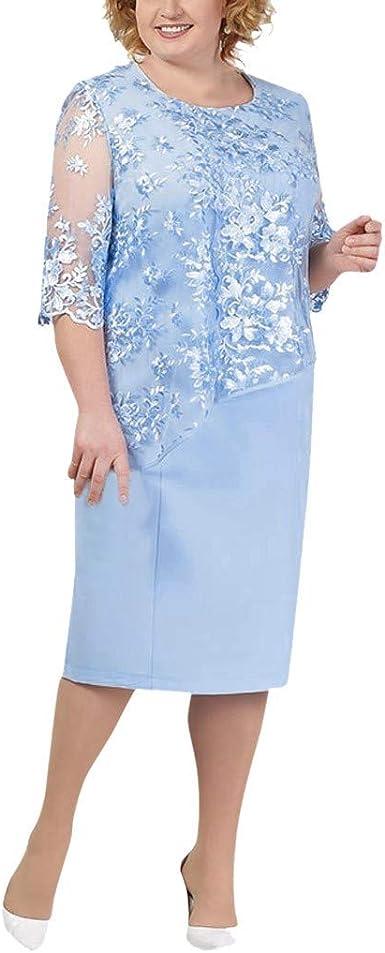 Reooly Nuevo Gran tamaño para Mujer, Costuras de Encaje, Cuello ...