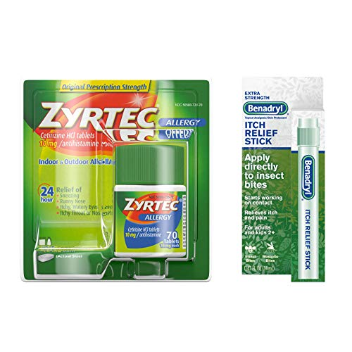 Zyrtec Allergy Relief Tablets 70 Count & benadryl Itch Relief Stick, Bundle Pack, 2 Items