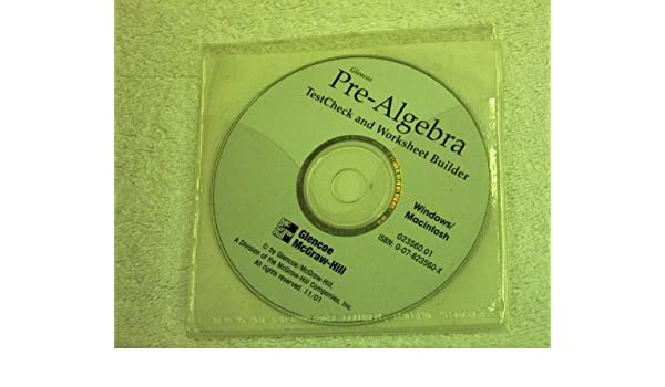 Amazon.com: Glencoe Pre-Algebra Testcheck and Worksheet Builder ...