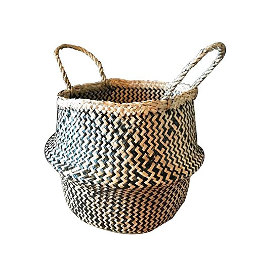 Foldable Natural Rattan Flower Basket Planter Seagrass Belly Laundry Storage Eco-friendly Garden Decoration Supplies