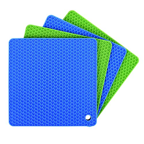 Silicone Pot Holders (Set of 4), Ankway Silicone Trivets Multi-Purpose Hot Pads Heat Resistant to 450 °F, Non-slip, Insulation, Durable, Flexible Trivet for Table Kitchen(2 Blue & ()
