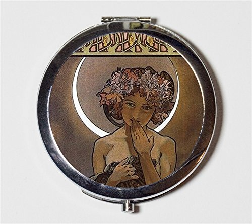 Alphonse Mucha Compact Mirror Moon Art Nouveau Crescent Goddess Boho Pocket Size for Makeup Cosmetics - Moon Goddess Art