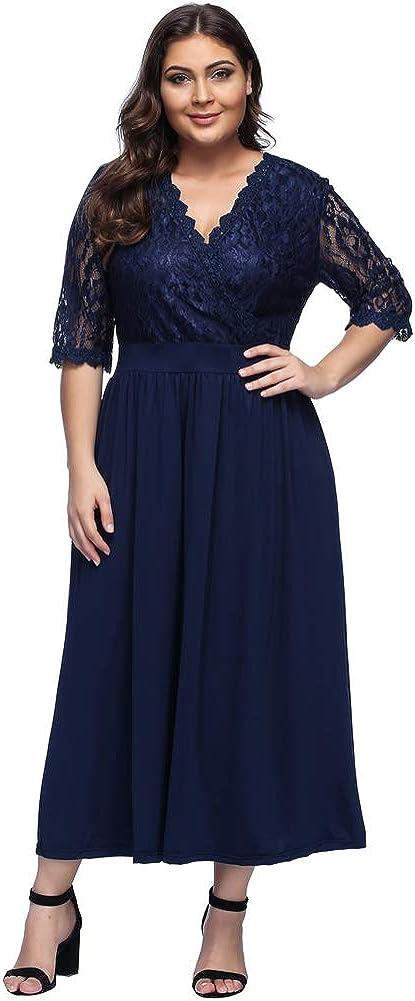 TALLA (EU50-52)2XL. Lover-Beauty Vestido Largo Mujer Talla Grande Moda Bolsillo Top Falda para Fiesta Verano Manga Corta Floral Estampada Suleto Moda de Ropa Elegante Maxi Azul Encaje (EU50-52)2XL