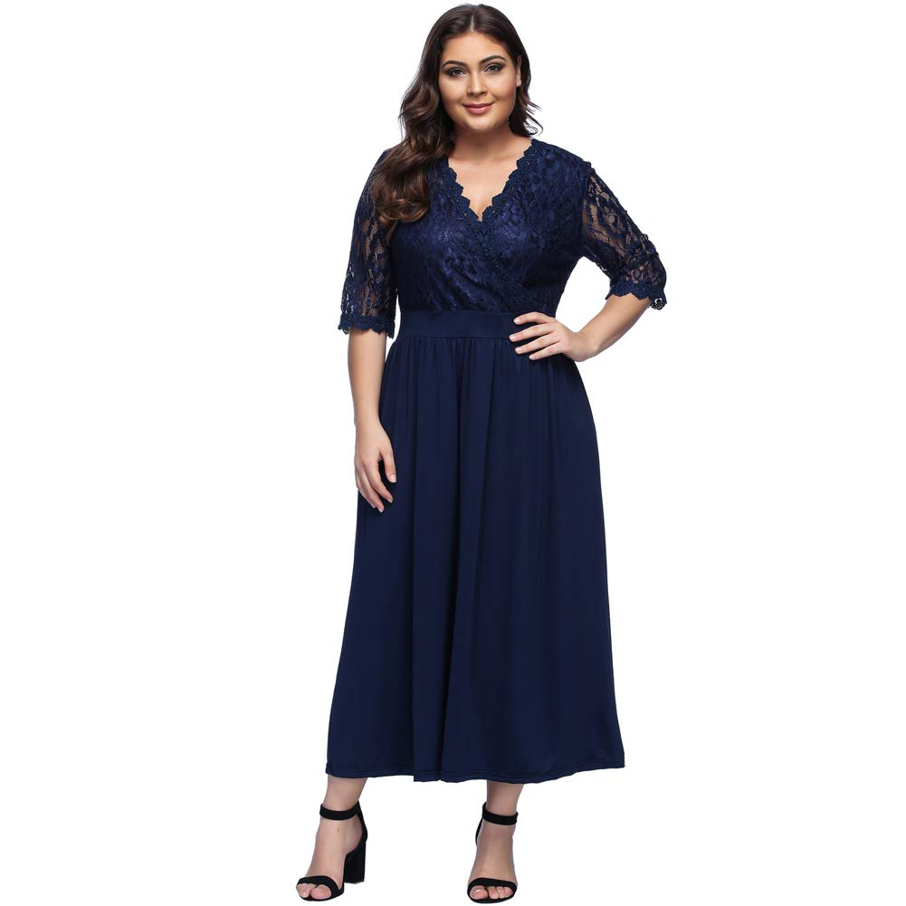 TALLA (EU46-48)XL. Lover-Beauty Vestido Largo Mujer Talla Grande Moda Bolsillo Top Falda para Fiesta Verano Manga Corta Floral Estampada Suleto Moda de Ropa Elegante Maxi Azul Encaje (EU46-48)XL