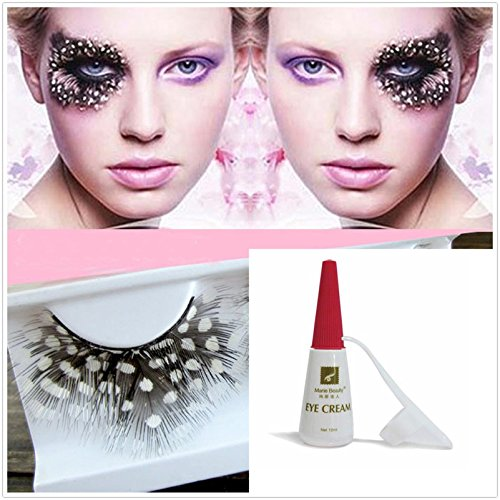 Beauty II Girl Fancy Dress Dance Party Makeup Colored Feather False Eyelashes Eye Lashes Polka Dot Thick Long Cosplay Christmas Halloween Queen Holiday Fine Fun Fake Eyelashes with Glue (Black -