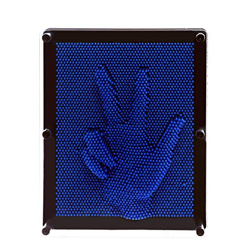 E-FirstFeeling 3D Pin Art Sculpture Extra Large 10'' X 8'' Pin Impression Hand Mold Board Toy Gift - Blue by E-FirstFeeling (Image #1)