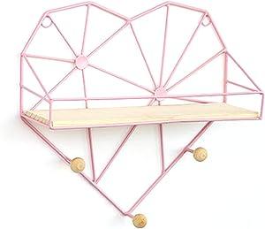HMANE Wall Mounted Floating Shelves, Wall Hanging Storage Shelves Display Shelf for Home Decor, Grid Heart Shape - Pink