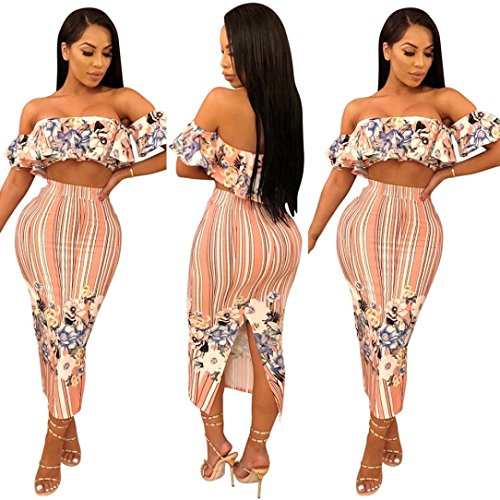 Minisoya Women Floral Strapless Ruffle Bandeau Crop Tops Striped Bodycon Maxi Skirt Cocktail Party Club Two Piece Set (Pink, XX-Large) by Minisoya (Image #3)