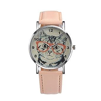 Scpink Reloj de Cuarzo para Mujer Liquidación Cat Relojes analógicos para Mujer Lady Watches Reloj de Cuero (Beige): Amazon.es: Relojes