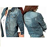 CHICFOR Womens Denim Jacket 3/4 Sleeve Button Down Slim Washed Boyfriend Cropped Outerwear Jean Jacket (Blue, L)