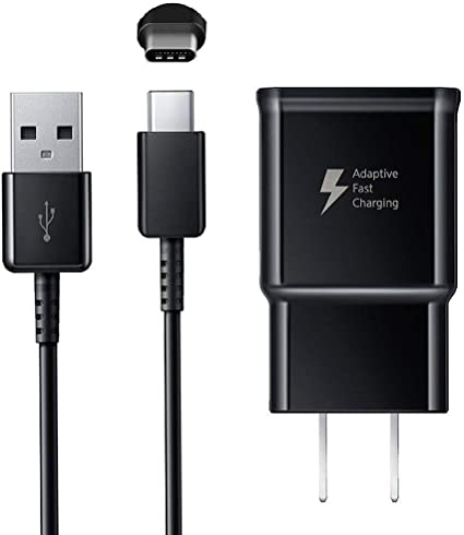Black Compatible with Samsung Galaxy S8//S8 Plus// S9// S9+// S10// S10 Plus//Note 8// Note 9 5 Feet Adaptive Fast Wall Charger with USB Type-C Cable