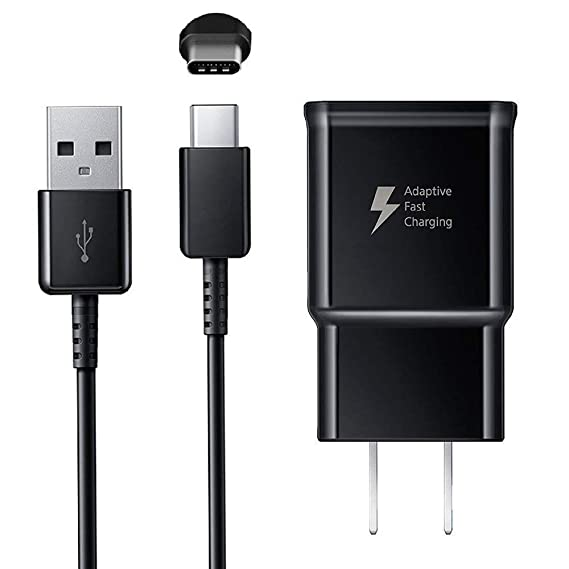 Adaptive Fast Charger Kit for Samsung Galaxy S10// S10e// S9//S8//S8 Plus//Note 8//9,LaoFas USB 2.0 Recharger Kit Wall Charger + Car Charger + 2 x Type C USB Cables Quick Charger-Black