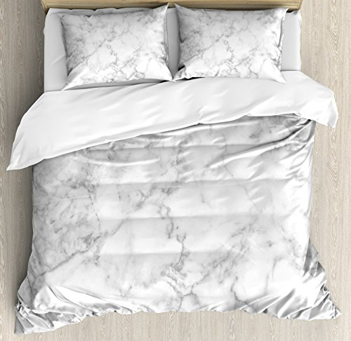 Ambesonne Marble Duvet Cover Set Queen Size, Nature Granite Pattern with Cloudy Spotted Trace Effects Marble Artistic Image, Decorative 3 Piece Bedding Set with 2 Pillow Shams, Light Grey Dust Clear Set Headboard