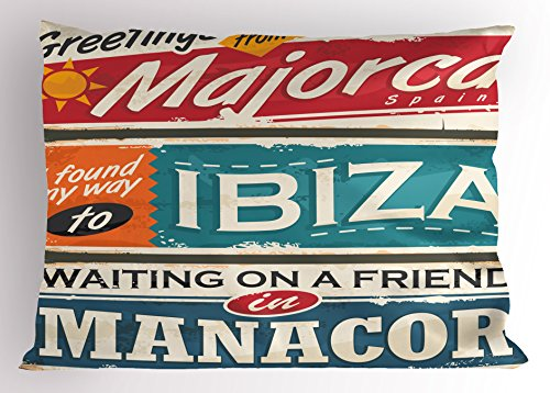 Lunarable Ibiza Pillow Sham, Vacation Themed Majorca Ibiza and Manacor Exotic Places from Balear Region Spain, Decorative Standard King Size Printed Pillowcase, 36 X 20 Inches, Multicolor by Lunarable