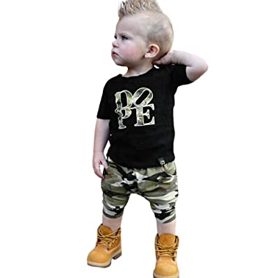 0-5 Years Old,Yamally_9R 2Pcs Toddler Boys Girls Letter Print Tops T-Shirt with Camouflage Pants Outfits Set