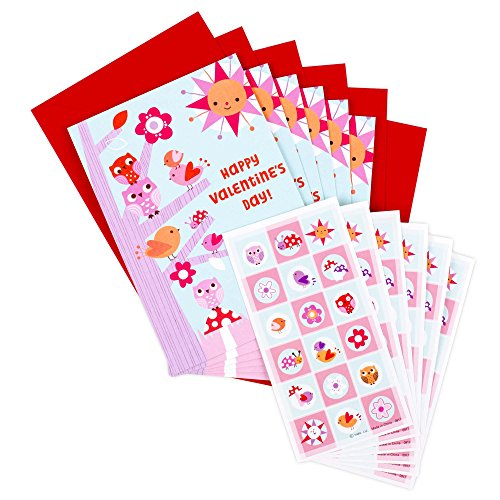 Hallmark Pack of Valentines Day Cards for Kids with Stickers (6 Valentine's Day Cards with Envelopes, 6 Birds and Flowers Sticker Sheets)