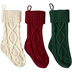 "Stock Show 15"" Christmas Knitted Stockings Mid-Size Xmas Gift Bags for Christmas Decoration Fireplace Decor, Set of 3, Burgundy and Ivory White and Dark Green"