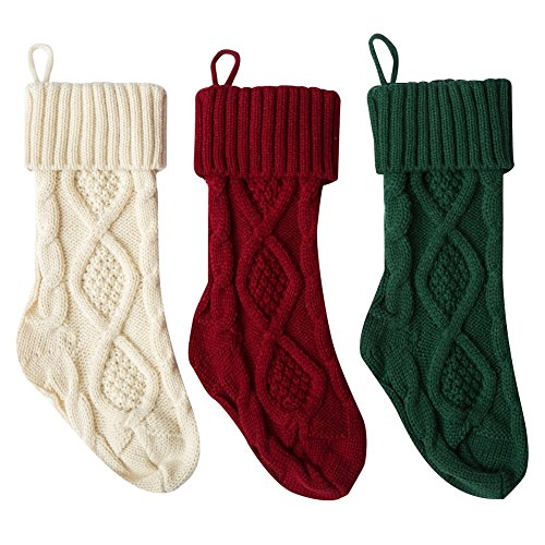 Stock Show 15quot Christmas Knitted Stockings MidSize Xmas Gift Bags for Christmas Decoration Fireplace Decor Set of 3 Burgundy and Ivory White and Dark Green