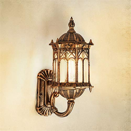 Cigkany Wall Lamp European Wall Lamp Outdoor Waterproof Wall Hanging Lamp Balcony Lamp Aisle Lights Garden Lights Glass Antique Wall Lamp (Color : Gold, Size : One Head)