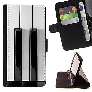 For Sony Xperia Z1 L39 Case , Blanco Negro Keys minimalista Música- la tarjeta de Crédito Slots PU Funda de cuero Monedero caso cubierta de piel