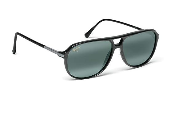 fe44521cc4 Amazon.com: Maui Jim Dawn Patrol 223-02 Polarized Aviator Sunglasses,Gloss  Black Frame/Neutral Grey Lens,One Size: Clothing