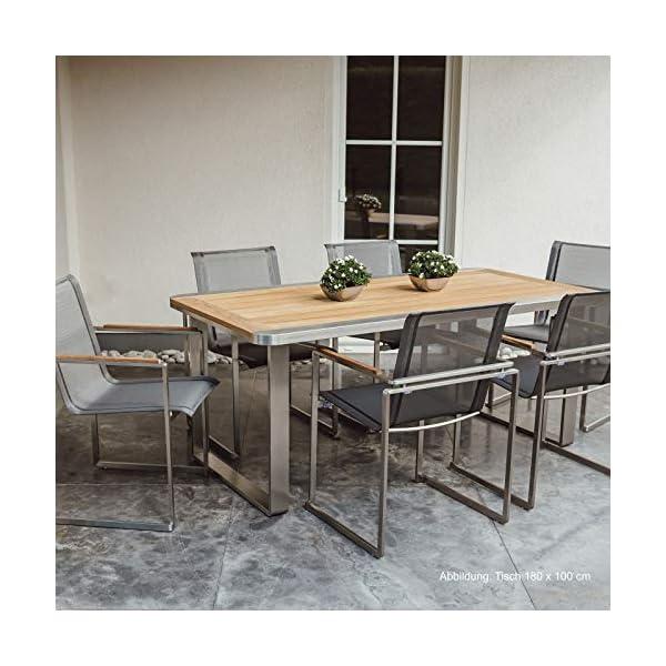 Linneborn - Set di mobili da Giardino Composto da 1 Tavolo da Giardino da 240 cm e 6 sedie in Acciaio Inox e Teak Metallico 2 spesavip