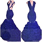 Sob V Neck Beaded Mermaid Prom Dress 2018 Long Sexy Backless Ruffles Evening Formal Pageant Gowns SOB222