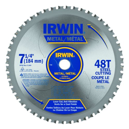 IRWIN Tools Metal-Cutting Circular Saw Blade, 7 1/4-inch, 48T (4935555)