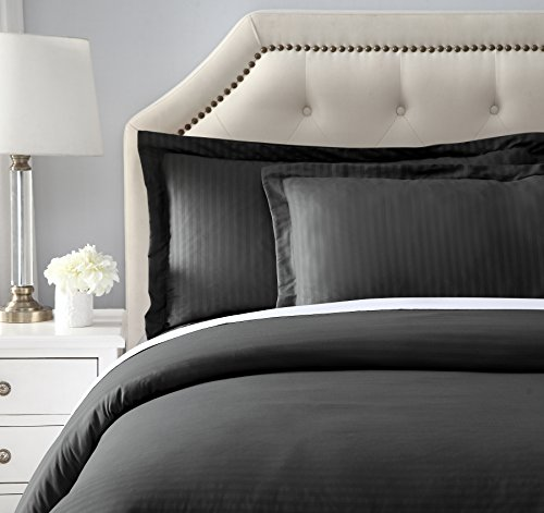 Ornavo Home Hypoallergenic Ultra Soft Brushed Premium 3 Piece Stripe Duvet Cover Set - Durable, Wrinkle Free and Fade Resistant - Full/Queen, (Stripe Full Queen Duvet)