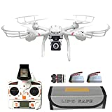 X101 FPV Quadcopter Drone Bundle Pack With HD Live Camera Wi-Fi Real Time Transmission RC Helicopter (Extra: 7.4V 1200mAh battery, Explosion-proof Battery Safe Bag, Voltage Checker) White