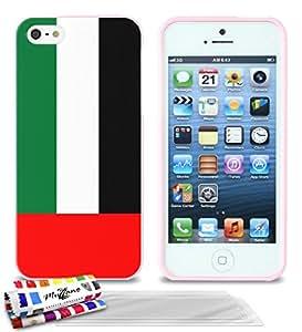 """Carcasa Flexible Ultra-Slim APPLE IPHONE 5 de exclusivo motivo [Emiratos Árabes Unidos Bandera] [Rosa] de MUZZANO  + 3 Pelliculas de Pantalla """"UltraClear"""" + ESTILETE y PAÑO MUZZANO REGALADOS - La Protección Antigolpes ULTIMA, ELEGANTE Y DURADERA para su APPLE IPHONE 5"""