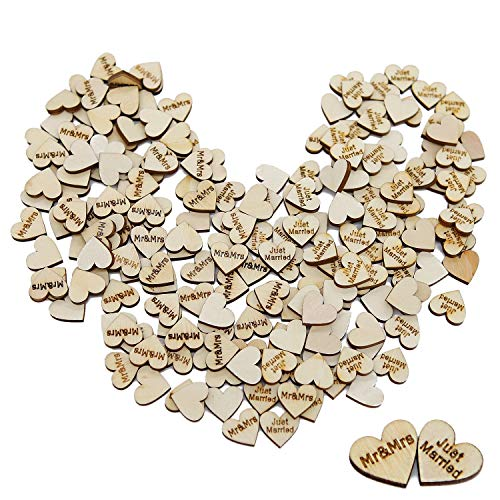 Wedding Table Confetti - Goldenlight 200Pcs Small Wooden Hearts Love Mr and Mrs Just Married Letters for Wedding Table Scatter Decoration Guest Book Crafts Bulk Rustic