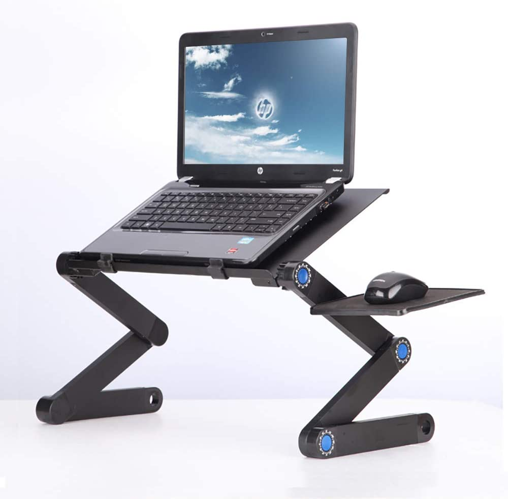 Adjustable Laptop Lap Desk, Portable Laptop Workstation Notebook Stand for Bed and Sofa, Sitting with CPU Cooling Vents and Mouse Pad, Ergonomic Best Lap Desk TV Bed Tray Standing Table.