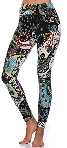 BAILYDEL Women's Ultra Soft Printed Ankle Leggings Fashion Seamless Stretch Pants Size XL-2XL - Fancy Pants Flower