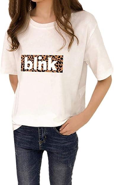 VJGOAL Carta de Moda de Verano de Las Mujeres Camisas Impresas Blusa de Manga Corta O Cuello Blanco Tops Camiseta Casual: Amazon.es: Ropa y accesorios