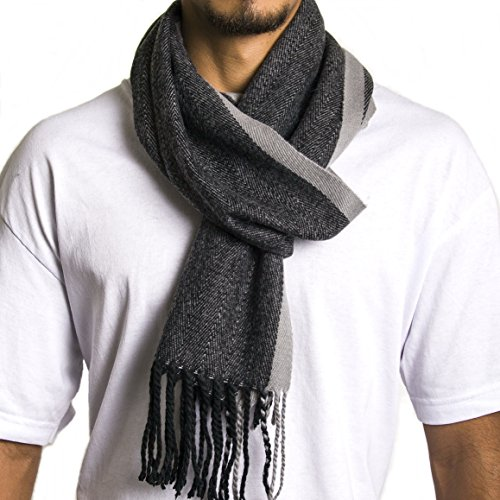Alpine Swiss Mens Plaid Scarf Soft Winter Scarves Unisex,Gray, One Size
