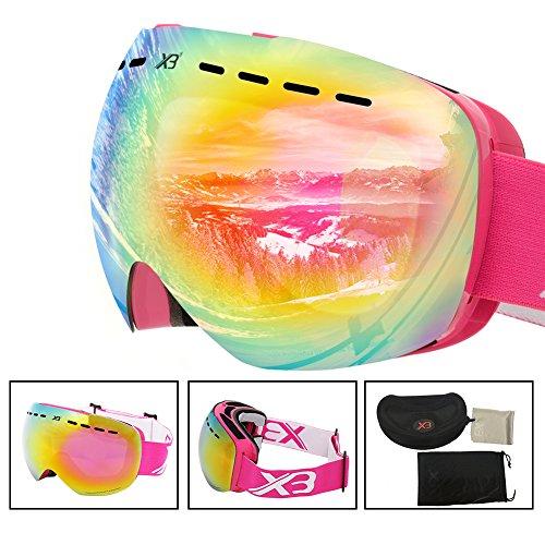 Ski Goggles, OTG Snowboard Goggles 100% UV Protection, Snow Goggles Anti-fog, Helmet Compatible, Interchangeable Lens for Men Women Skiing Snowmobile - Ski Pink Goggles