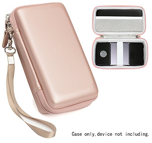 Protective Case for Moto Insta-Share Projector, Mesh Pocket for Cable, Charger and other accessories, Elastic Security strap in the base, detachable wrist strap for easy carrying, Rose Gold