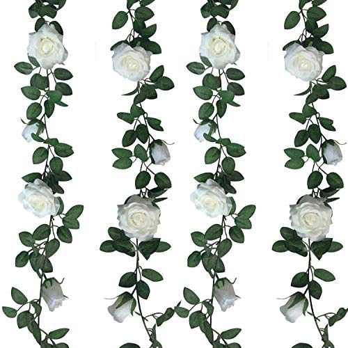 (Jing-Rise 2pcs 6.5Ft Artificial Silk Rose Vine Fake Flower Hanging Garland Artificial Plants For Wedding Party Garden Outdoor Home Hotel Office Shop Arch Wall Mirror Decoration (White))