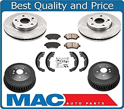 ba49eae2ca Amazon.com  For Sienna Van 98-03 Disc Brake Rotors Pads Brake Drums Brake  Shoe Springs 7pc  Automotive