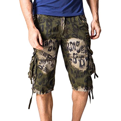 Rucan Mens Multi-Pocket Camo Cargo Shorts Casual Loose Fit Camouflage Shorts Pants (Army Green, 32)