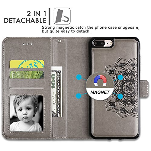 iPhone 8 Plus Case,iPhone 7 Plus Flip Embossed Leather Wallet Cases with Protective Detachable Slim Case Fit Car Mount,CASEOWL Mandala Flower Design with Card Slots, Strap for iPhone 7/8 Plus[Gray] by CASEOWL (Image #3)