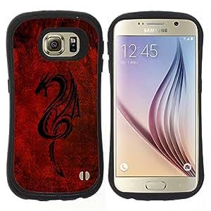 "Hypernova Slim Fit Dual Barniz Protector Caso Case Funda Para Samsung Galaxy S6 [Dragón tribal rojo""]"