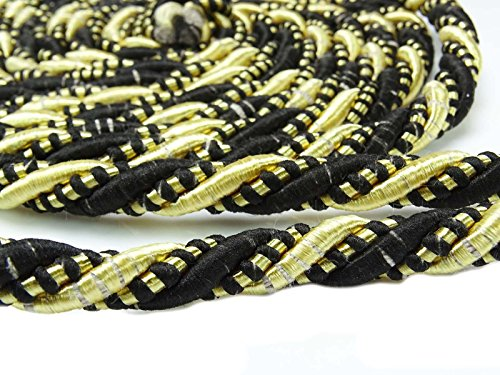 Yds Lip Cord - Upholstery Trim Braided Lip Cord Black Gold Satin Polyester Braid Piping 1 Yds