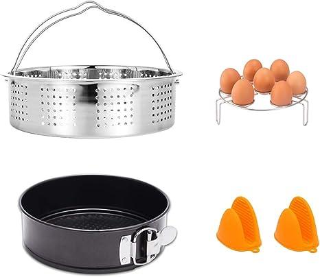 Stainless Steel Instant Pot Accessories Steamer Basket Egg Rack set 5,6,8 Qt